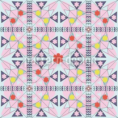 Mosaik Mit Blumen Vektor Muster