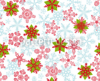 Christmas Crystals Ice-Blue Seamless Vector Pattern