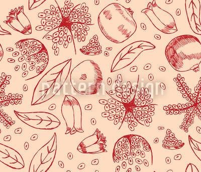 Granatapfel Traum Nahtloses Vektormuster