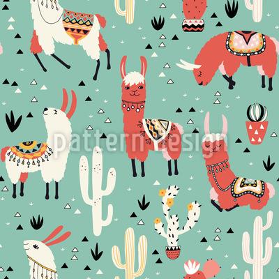 Lamas und Kaktus in einem Topf Nahtloses Vektor Muster