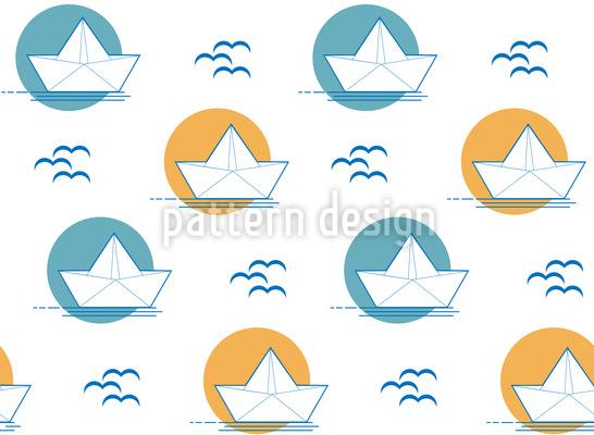 Papierboot fährt in Sonnenuntergang Nahtloses Muster