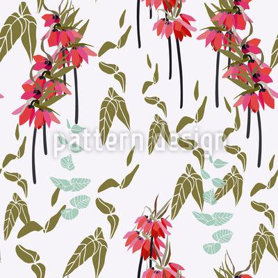 Schöne Lilien und Blätter Rapportiertes Design