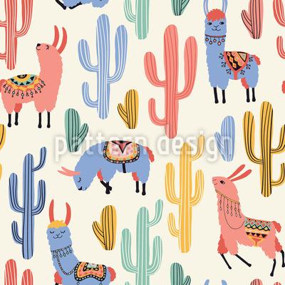 Alpacas com pijama Design de padrão vetorial sem costura