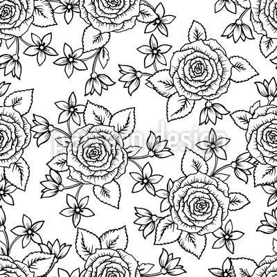 Rosas Zentangle Design de padrão vetorial sem costura
