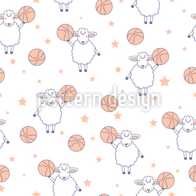 Basquetebol ovelhas Design de padrão vetorial sem costura