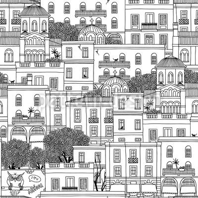 Häuser von Athen Nahtloses Vektormuster