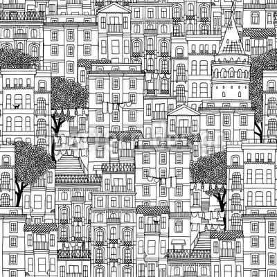Häuser von Istanbul Nahtloses Vektormuster
