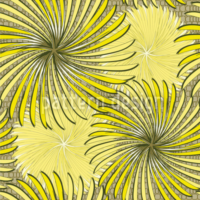 Turning Wheels Yellow Repeating Pattern