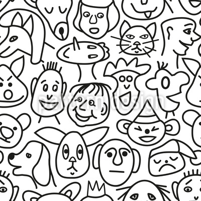 Rostos de quadrinhos Design de padrão vetorial sem costura
