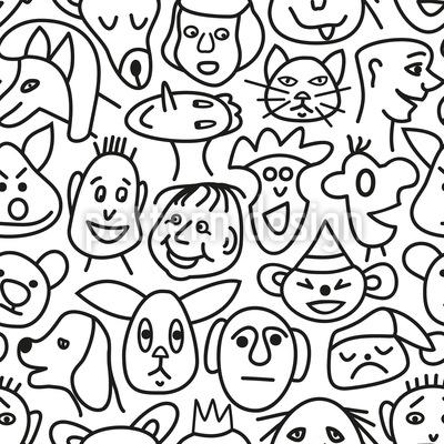Comic Gesichter Nahtloses Vektormuster