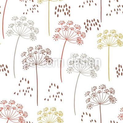 Fenchelsamen und Blüten Rapportiertes Design
