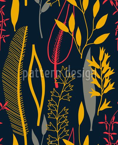Blätter Silhouetten Schwarz Rapportiertes Design