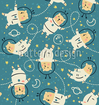 Bearstronauts Seamless Vector Pattern Design