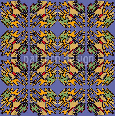 Ethno Vogel Blue Vektor Ornament