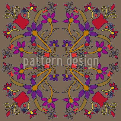 Orientalische Blumen Nahtloses Muster