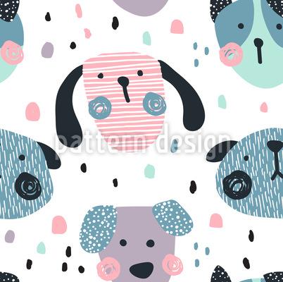 Engraçado em forma de cão Design de padrão vetorial sem costura