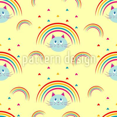 Kitty Cat Regenbogen Nahtloses Vektor Muster