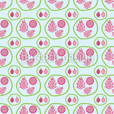 Drachenfrucht Familie Nahtloses Muster