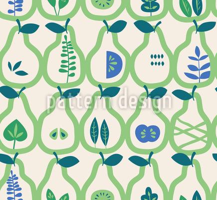Birnen und Blätter Muster Design