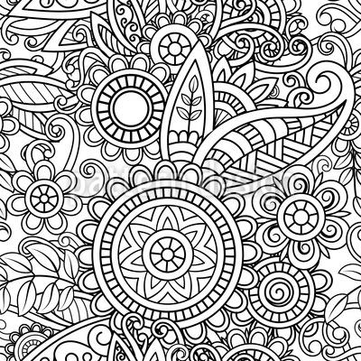 Mandala para colorir Design de padrão vetorial sem costura