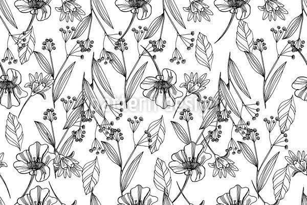 Zarter Blumenregen Nahtloses Vektor Muster