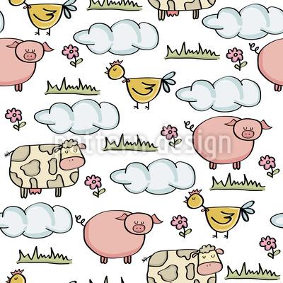 Landwirtschaftliche Tiere Nahtloses Muster