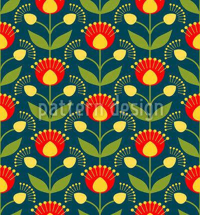 Blühende Retro Blumen Nahtloses Vektormuster