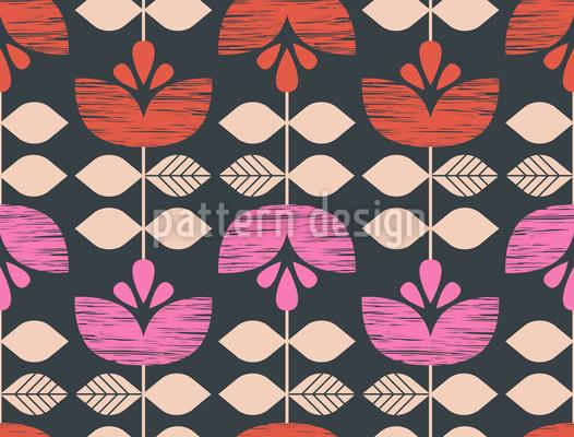 Retro Blumengirlanden Nahtloses Vektor Muster