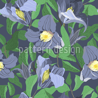 Handpicked Clematis Seamless Vector Pattern Design