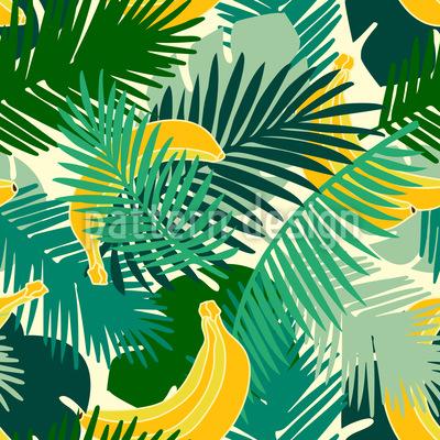 トロピカルバナナ シームレスなベクトルパターン設計