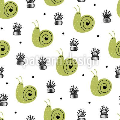 Scandinavian Snail Seamless Vector Pattern Design