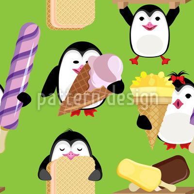 طيور البطريق مع الآيس كريم تصميم نمط ناقلات سلس