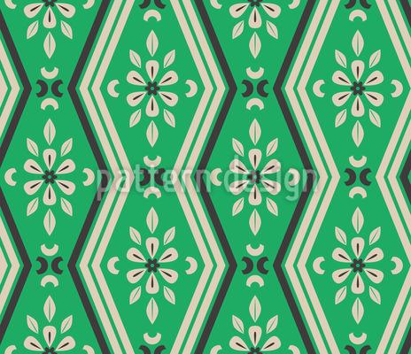 Zickzack Linien Und Florale Elemente Rapportmuster