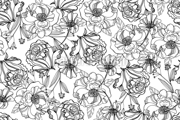 Hand Drawn Flower Garden Seamless Vector Pattern Design