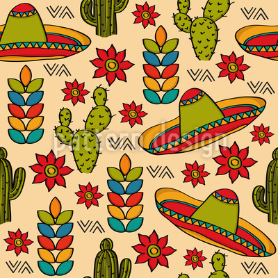 Mexican Stereotypes Seamless Vector Pattern Design