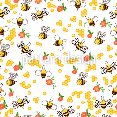 Flowers And Bees Seamless Vector Pattern Design