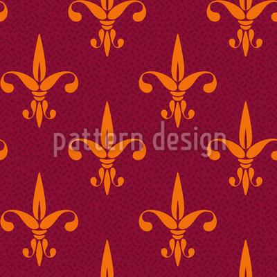 Flor de Lis Fiery Design de padrão vetorial sem costura