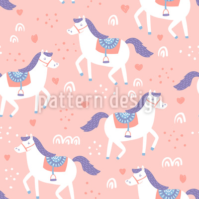 Cute Horses Seamless Vector Pattern Design