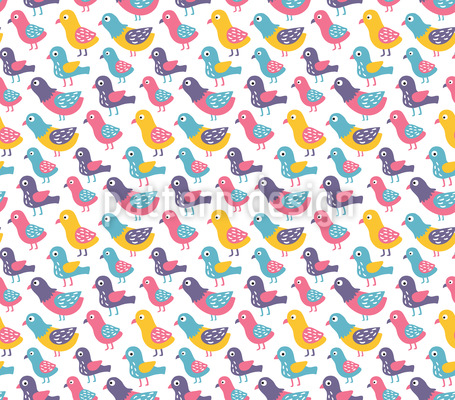 Süße Vögel Vektor Muster