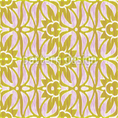 Ikat Und Florale Ranken Vektor Muster