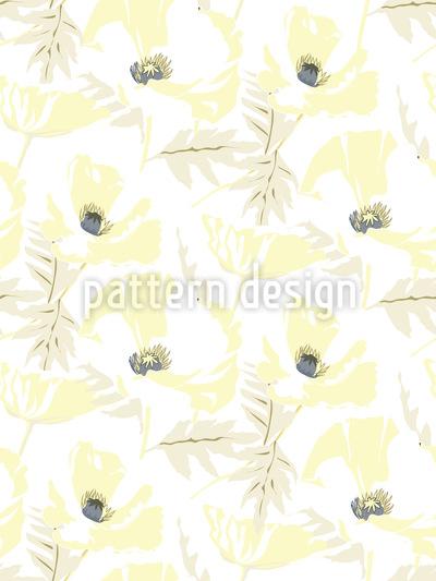 Snowy Poppy Seamless Vector Pattern Design