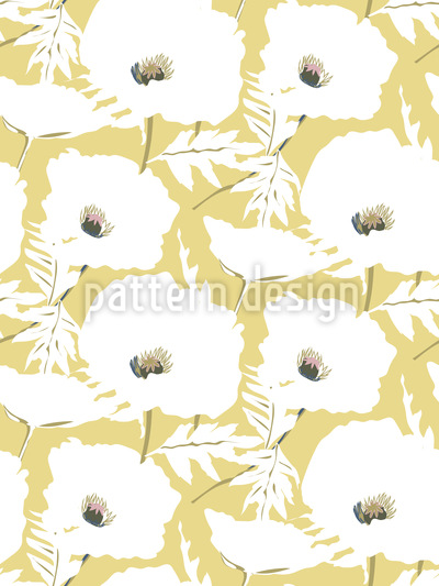 Elegant Poppy Field Seamless Vector Pattern Design