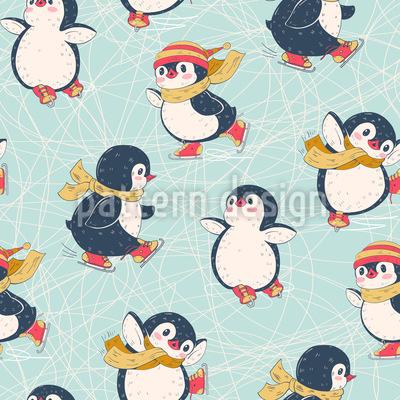 Eislaufende Pinguine Nahtloses Muster
