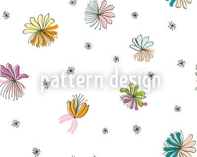 Filigree Blossoms Seamless Vector Pattern Design