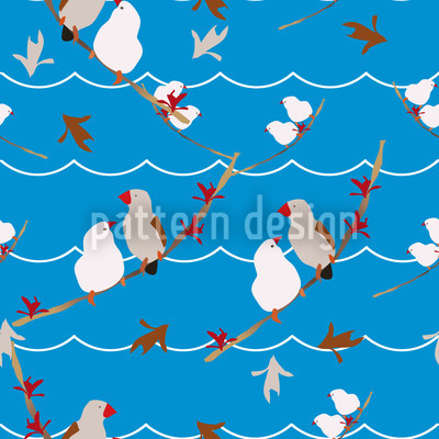 Lovebirds Blue Repeat Pattern