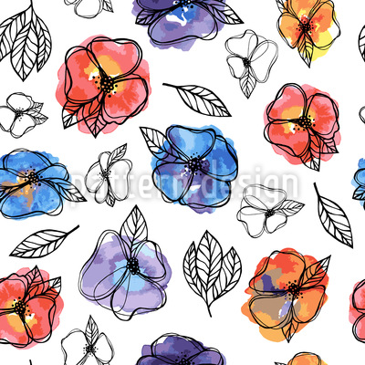 Sommerblumen Und Aquarell Musterdesign