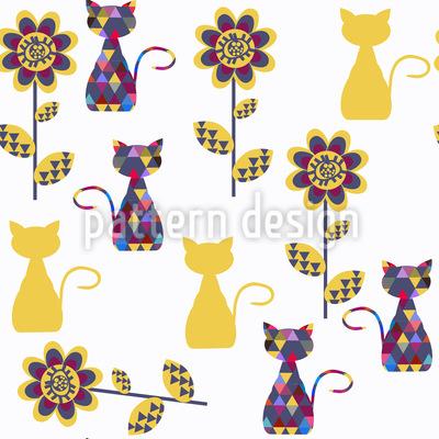 Katzen Gefüllt Mit Geometrie Muster Design