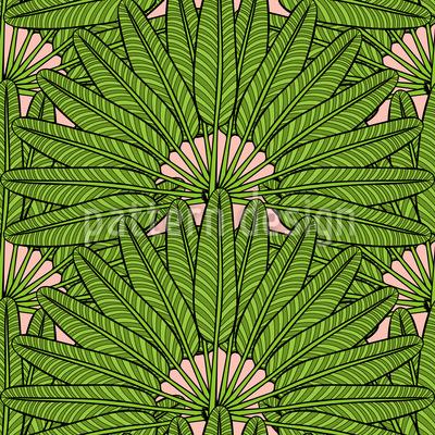 Palm Fan Seamless Vector Pattern Design