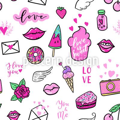 Mädchenhafte Scherz Sticker Nahtloses Muster