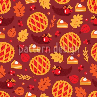 Kürbiskirschkuchen Nahtloses Muster